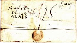29 GARD - Déboursé D'ALAIS - 1820 - Marcofilia (sobres)