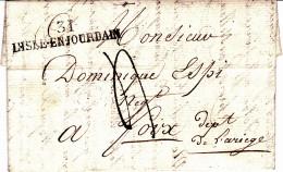 31 GERS - 31 L'ISLE EN JOURDAIN Marque Linéaire - 1827 - Postmark Collection (Covers)
