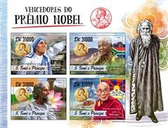 S. Tomè 2016, Nobel Prices, Mandela, Mother Teresa, Dalai Lama, 4val In BF - Mother Teresa