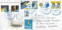Lettre Recommandée D'Almata (vignette Expo 2017 Future Energy), Adressée ANDORRA,avec Timbre à Date Arrivée - Kazakhstan