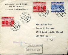 16825 Poland,circuled Cover Registered To U.s.a. 1936 Warszawa, 3 Stamps Gordon Bennet Freiballon,(see 2 Scan) - Poste Aérienne