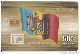 MOLDOVA - Flag, European Council, Moldtelecom Telecard 500 Units, Tirage 10000, 01/00, Used
