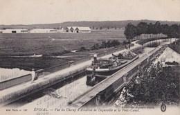 Carte 1910 EPINAL / VUE DU CHAMP D'AVIATION DE DOGUEVILLE ET LE PONT CANAL (péniche,gabarre) - Epinal