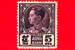 SIAM - Tailandia - Usato - 1928 - Re Prajadhipok - 5 - Siam