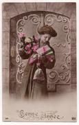 Cpa Bonne Année - Jeune Femme - Photo De Studio N°373 Rex - (Cachet : La Rixouse Et Morez Jura 1911) - Nouvel An
