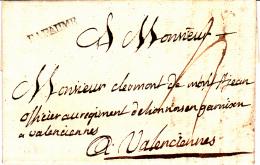 61 PAS De CALAIS - BAPAUME - 1771 - Marcophilie (Lettres)