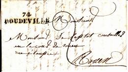 74 SEINE INFERIEURE - DOUDEVILLE - 1825 - Marcofilia (sobres)
