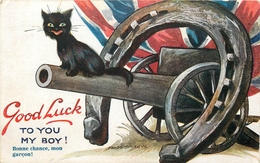 """CHAT - CAT - CHAT PORTE BONHEUR POUR L'ARMEE ANGLAISE - """"GOOD LUCK TO YOU MY BOY"""" - ILLUSTRATEUR FRED SPURGIN. - Chats"""