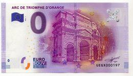 2016-1 BILLET TOURISTIQUE 0 EURO SOUVENIR N° 000197 ARC DE TRIOMPHE D'ORANGE - EURO