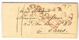 Précurseur De Brussel (rouge) Vers Paris LPB2R 1832 Pays-Bas Par Valenciennes (J8) - 1830-1849 (Belgique Indépendante)
