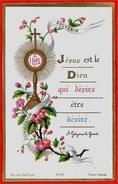 """Image Religieuse """"Jesus Est Le Dieu Qui Désire être Désiré"""" BONAMY 86 Poitiers Souvenir 1ère Communion BELIN Marguerite - Images Religieuses"""