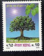 NEPAL 2001   Tree. Yvert 701,1 Stamp Complete,  MNH(**) - Alberi
