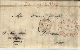 """1850- """" FOREIGN LETTER """" + PACKETT LETTERV/MAURITIUS  + P. Fully Albion  / Via Ceylan  French Rating 10 D - Mauricio (...-1967)"""