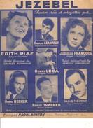 Partition- JEZEBEL -edith Piaf D. Moreno ...  -Paroles : C. AZNAVOUR  - MusiqueW. Shanklin - Non Classés