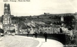 Fribourg - Route Des Alpes Belebt + Ca. 1910  (20403) - FR Fribourg