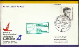 Germany Frankfurt 1973 / Airplains / Lufthansa Avianca First Flight LH/AV 516 / Boeing 707 / Frankfurt - Bogota - Aviones