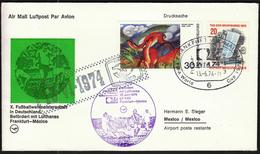 Germany Frankfurt 1974 / Airplanes / Lufthansa Flight LH 480 / Football World Cup Germany / Frankfurt - Mexico - Coppa Del Mondo