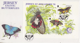 Jersey 1995 Exotic Butterflies / Singapore '95 M/s FDC (F5993) - Jersey