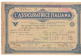 L'assicuratrice Italiana Bolletta Di Riscossione 1943 Roma  Doc.239 - Azioni & Titoli