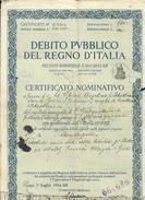 Debito Pubblico Del Regno D'italia Certificato Nominativo 1934  Doc.242 - Azioni & Titoli