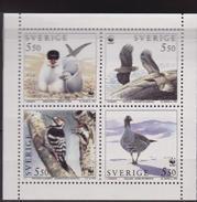 SVEZIA WWF IMPERF BIRDS SHEET UCCELLI Mnh - W.W.F.