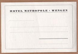 AC - HOTEL METROPOLE WENGEN VINTAGE LUGGAGE LABEL - Non Classificati