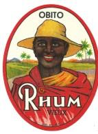 """étiquette Rhum  Vieux Obito """"visage Homme Chapeau"""" Imp MF Vers 1920 - Rhum"""