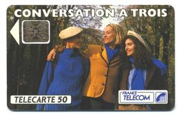 France, Telecom, Telecarte 50, Thème, Téléphones, Conversation à Trois - Telefoni