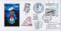 ANTARCTIC Station Mirny Base 61 RAE Pole Mail Used Cover USSR RUSSIA Helicopter Ship Signature - Research Stations