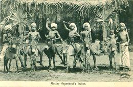 Cpa Tierpark Hagenbeck - Gustav Hagenbeck's Indien - Enfants, ânes - Stellingen