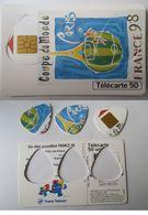 1998 - Lot 3 Guitar Pick Vintage - French Telephone Card - COUPE DU MONDE De FOOTBALL - MEDIATOR Onglet Pour Guitare - Instruments De Musique