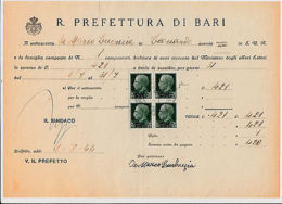 USO FISCALE-Quartina 25c PM(5 Posta Militare)-Ricevuta Di Bari 1.8.1944 - Italia