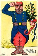 Cpa Bonne Année - Soldat Français, 1916, Illustrateur J JANIN - War 1914-18