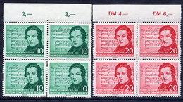 DDR 1956 Schumann Centenary With Corrected Music, Blocks Of 4 MNH / **.  Michel 541-42 - [6] Democratic Republic