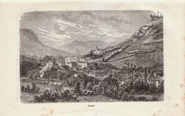1888 - Gravure Sur Bois - Salins-les-Bains (Jura) - Vue Générale - FRANCO DE PORT - Prints & Engravings