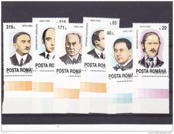 #128   ROMANIAN PERSONALITIES, 6 X STAMPS, MNH**, 1993, ROMANIA. - 1948-.... Republiken