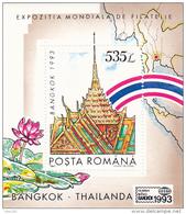 #  191  BANGKOK,ARCHITECTURE, 1993, Mi 4923, MNH**, BLOCK , ROMANIA - 1948-.... Républiques