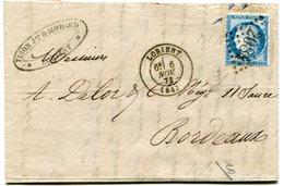 MORBIHAN De LORIENT GC 2084 Sur N°60 Sur LAC Du 06/11/1873 - 1849-1876: Période Classique