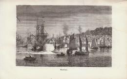 1880 - Gravure Sur Bois - Honfleur (Calvados) - Le Port - FRANCO DE PORT - Prints & Engravings