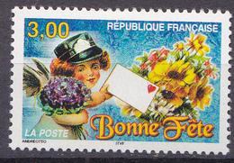 """N° 3133 Timbres De Souhaits """" Bonne Fête"""" Petite Fille Tenant Un Bouquet Et Un Pli: UnTimbre Neuf Sans Charnière - France"""