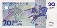 Kyrgyzstan 20 Som  1993  Pick 6 UNC - Kirghizistan