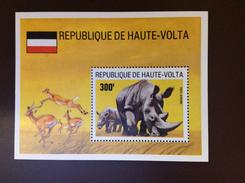 Upper Volta 1973 Rhino Minisheet MNH - Rhinocéros