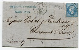 RHONE De LYON VAISE LAC De 1866 - Marcofilia (sobres)