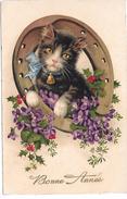 CHAT - Bonne Année - Violettes - Chats