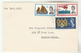 1963 Harrow GB FDC LIFEBOAT  Stamps Life Boat Ship Helicopter Cds Cover - FDC