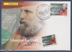 = Giuseppe Garibaldi, Centenaire De Sa Naissance, Portrait, Carte 1er Jour La Maddalena 4.7.2007 Italie - Maximum Cards