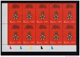 -FRANCE-2002-un Bloc De Dix (10) YT N°3490**-Bicentenaire De Le Legion D´Honneur Croix 0.46€ CDF Couleurs - France