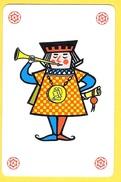Joker Soufflant Dans Une Trompe, Trompette, Clairon Avec Médaillon Et Parchemin - Speelkaarten
