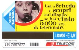 """Italie, Telecom, Scheda Telefonica 5,16 Eur., Thème, Jeux, Concours """"Il Giallo Della Scheda Misteriosa"""" - Giochi"""