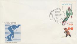 Enveloppe  1er  Jour   NICARAGUA   JEUX   OLYMPIQUES     CALGARY    1988